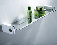 F3103WH high quality stainless steel chrome polished bathroom glass shelf with bracket