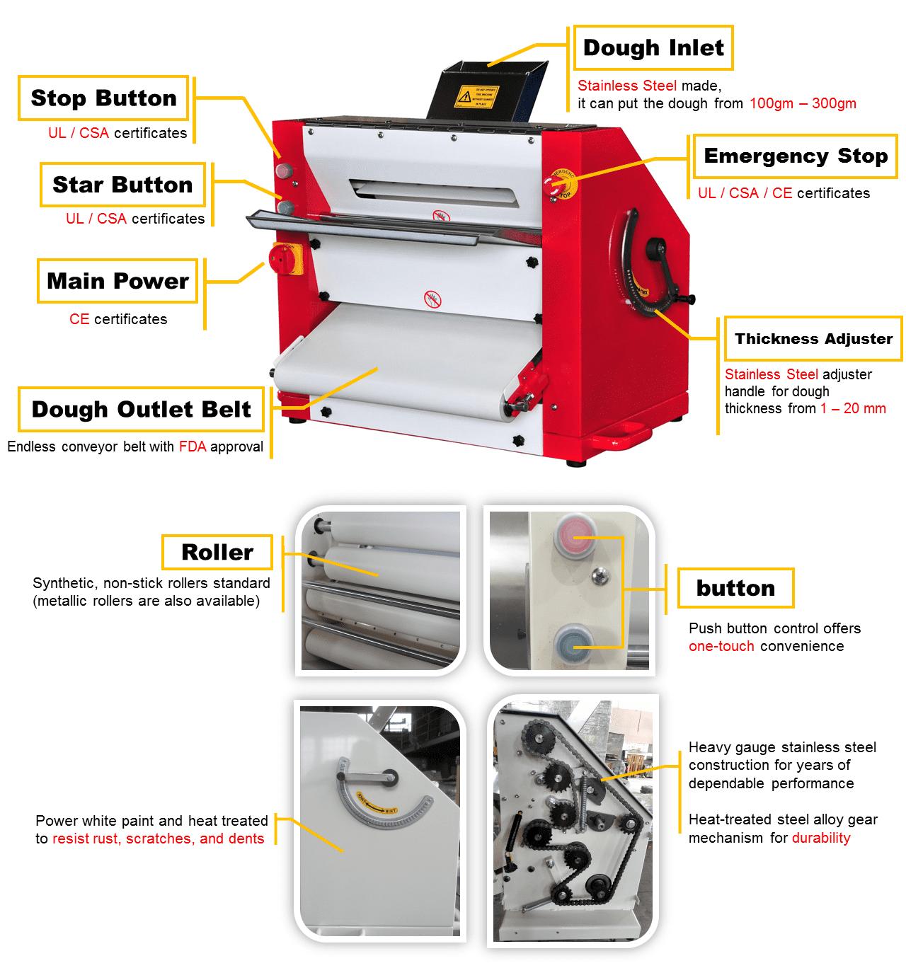 آلة مخبز مدحلة إعداد عجينة البيتزا التجارية