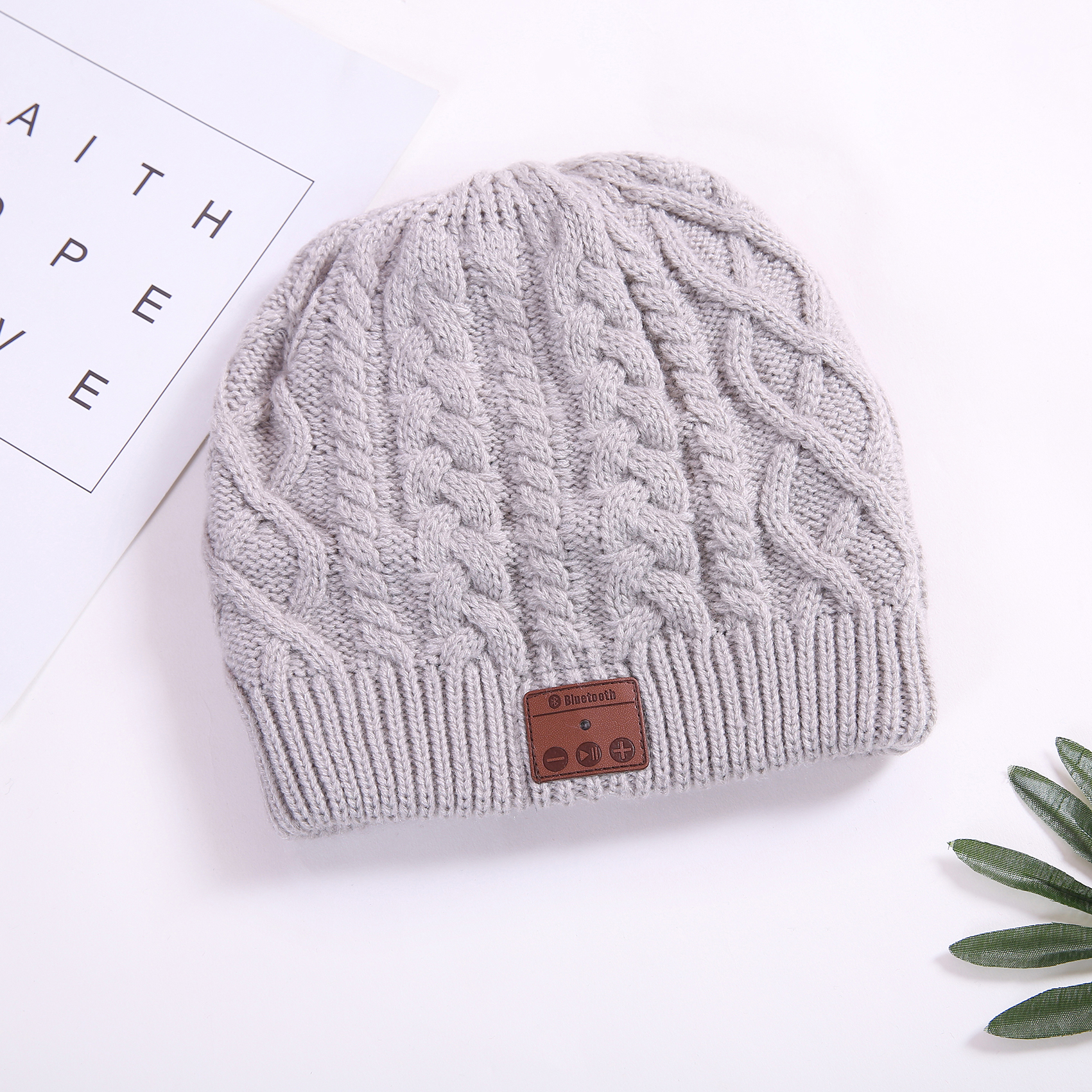 High Quality Knitting carly flower Bluetooth Earphone Winter Hat For unisex.