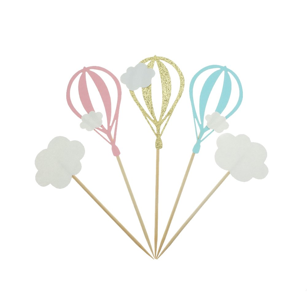 White Cloud Hot Air Balloon Cake Cupcake Toppers For Birthday Wedding Baby Shower Decoration Pack of 20 by GOCROWN