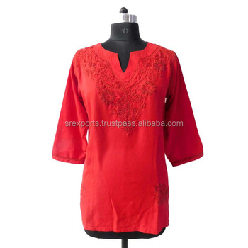 Red chicken kurti women wear embroidered tunic embroidery blouse girls  fashionable short tunic
