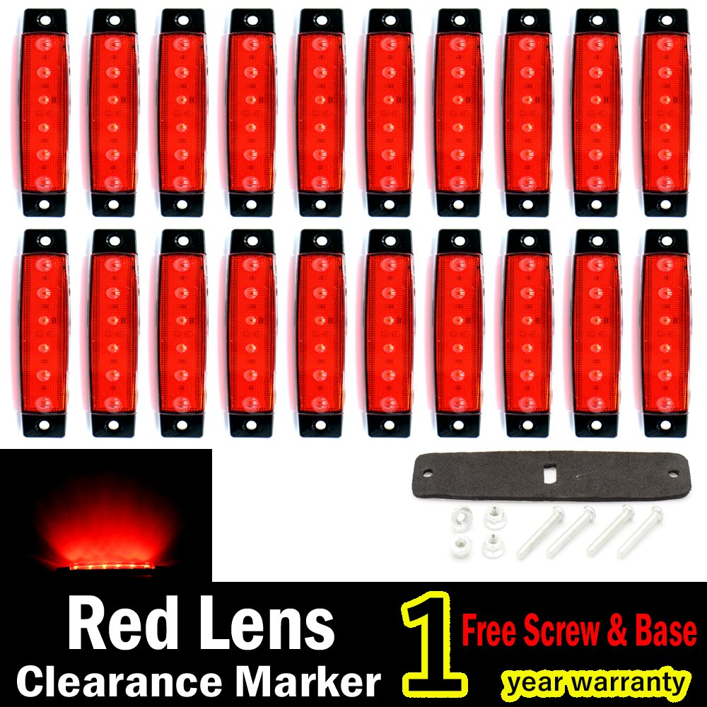 "(Pack of 20) LEDVillage 20 Pcs 3.8"" 6 LED Red Side Marker Lights, RED Trailer Marker Lights, Rear Side Marker Lamp, Led Marker Lights for Trucks, Cab Marker, RV Marker light"