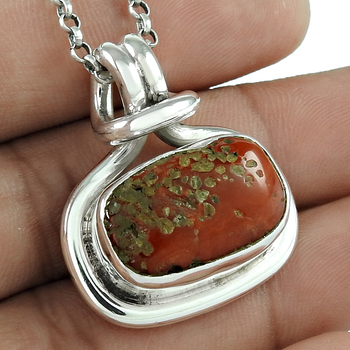 Coral gemstone pendant handmade jewelry fine 925 sterling silver pendants Indian silver jewelry