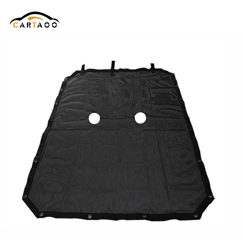 Cartaoo Nero Poliestere Protezione UV Auto Parasole Net Top Cover per Jeep Wrangler JK 2007-2017 4 Porta