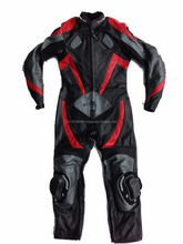 Kids Leather Race track Suit Black Red CE Armour Size 16