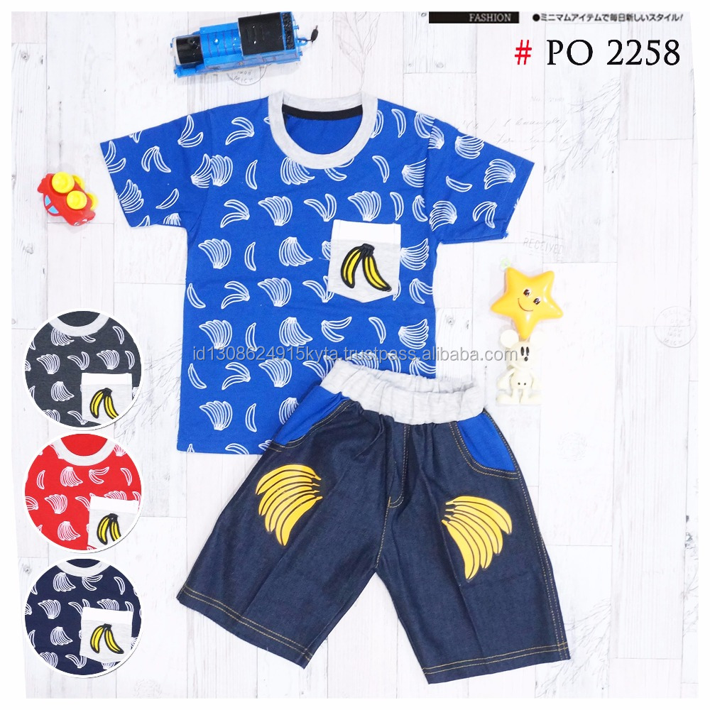 100 % Cotton Summer Fashion Style For Kids and Boys Banana Printing Short Sleeve T-shirt with Jeans WAKA2258