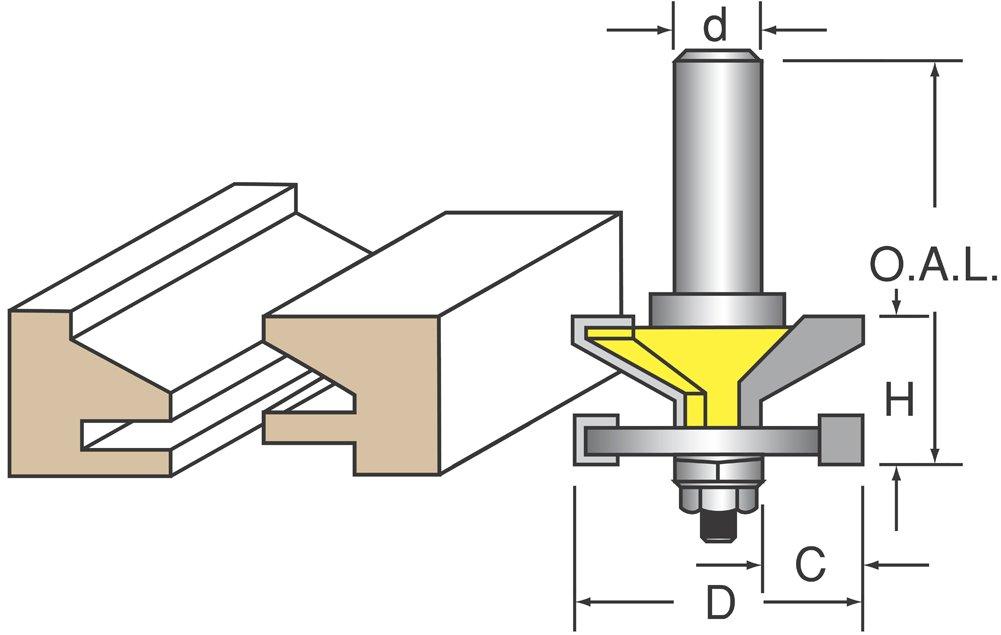 """Woodtek 820746, Router Bits, Door Construction, Stile & Rail - Cabinet, Reversible Rail & Stile Bit, Bevel Detail 1/2"""" Shk"""