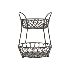 2-Tier Round Loop and Lattice Metal Storage Fruit Basket