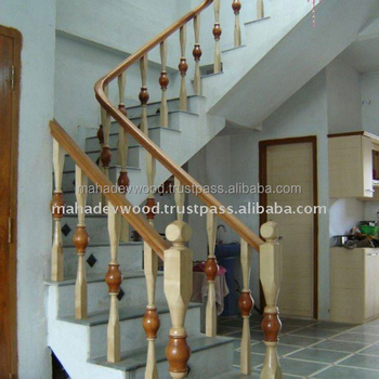 Wooden Stair Railing Design At Affordable Rate