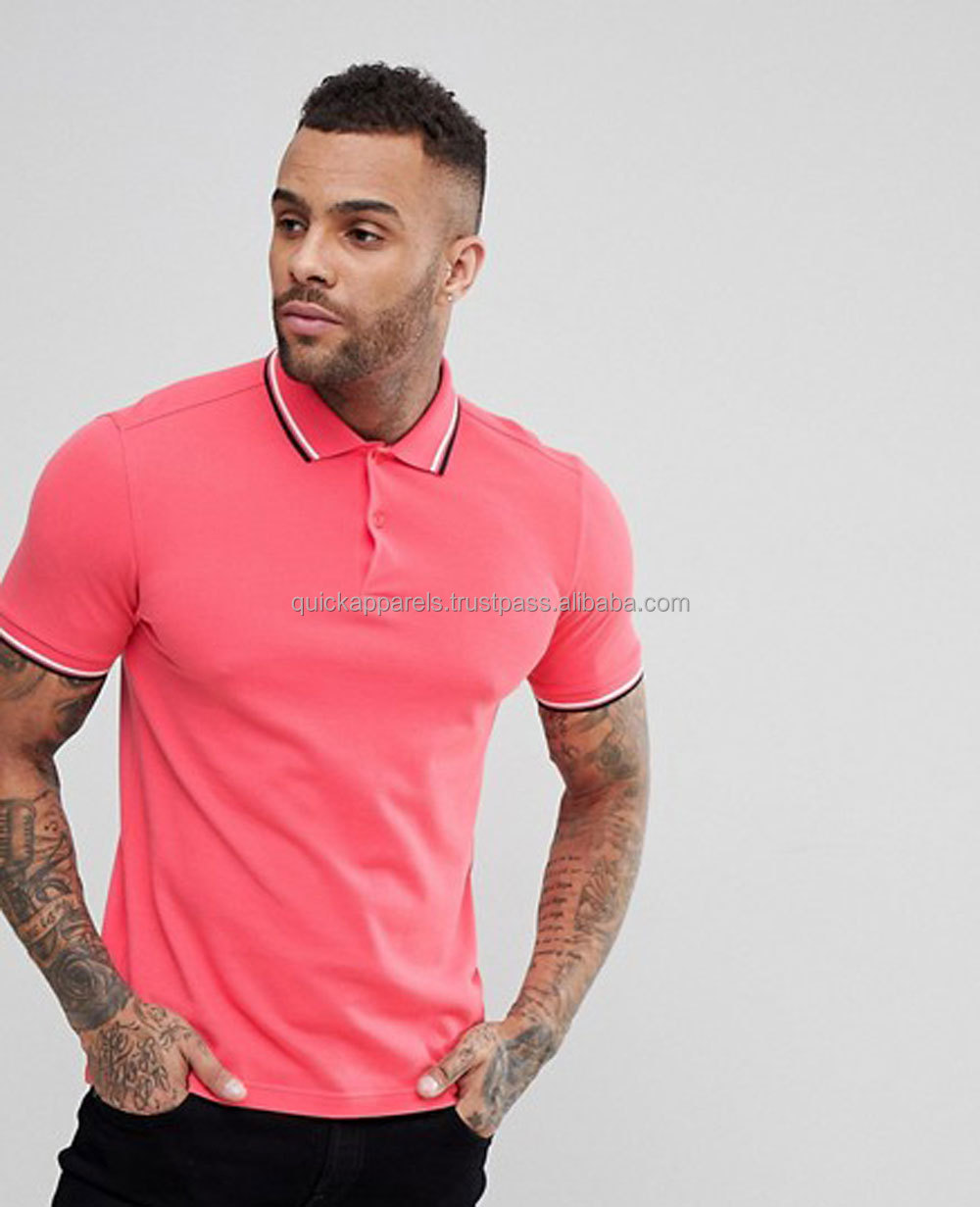 Oem mode mannen blauw 220g 100% pique katoen borduren plain custom/Slim Fit Twin Getipt Polo In Coral