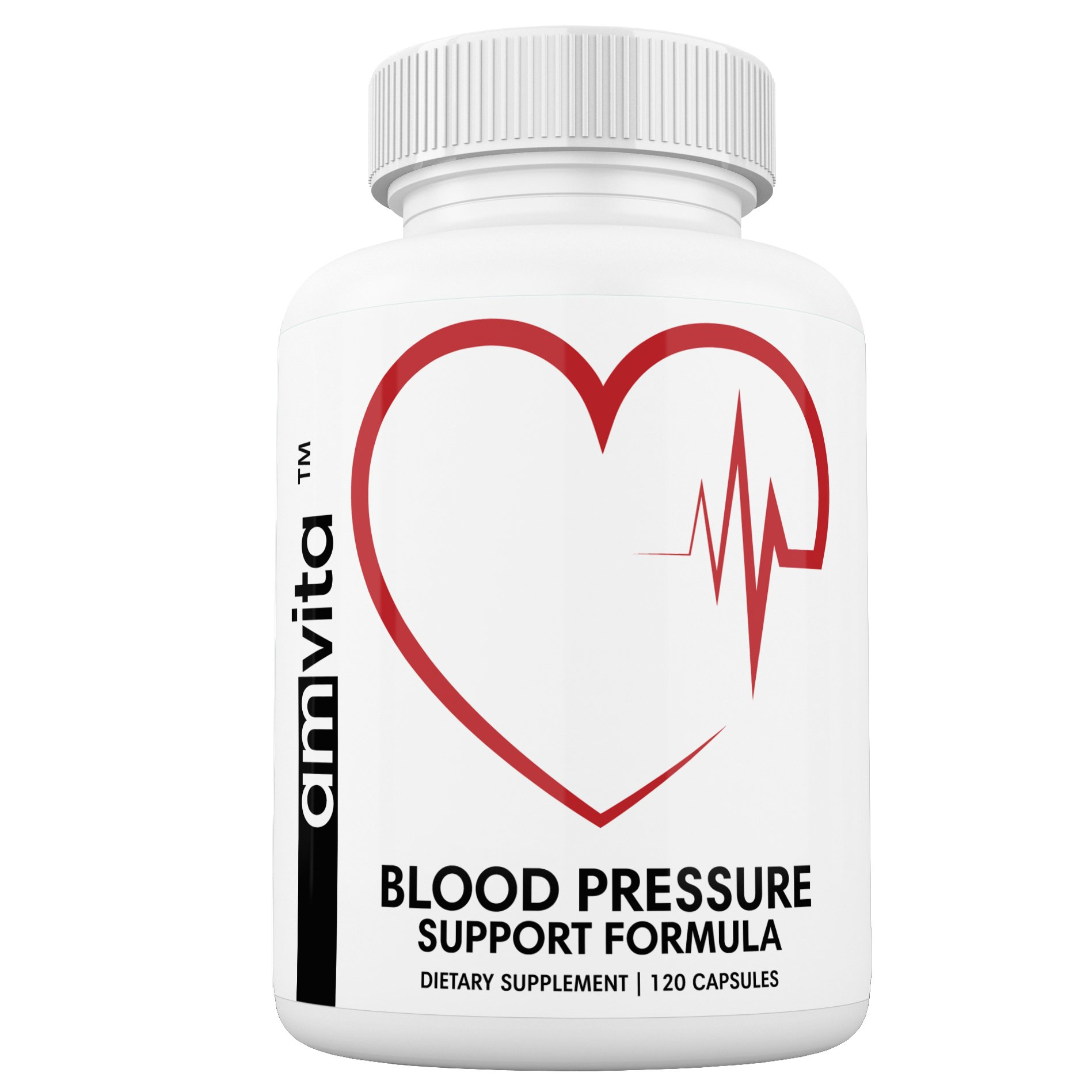 Premium Blood Pressure Support Supplement with Vitamins, Hawthorn, Niacin, Garlic and Hibiscus - Promotes Healthy Blood Pressure - Made is USA - 120 Capsules