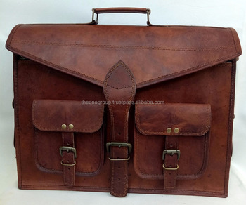 Vintage Leather Men Bags India Design Factory Handmade Laptop Computer Bag 17