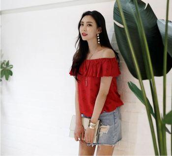 2e5dd2ecb7e01 New high quality fashion Korean style Summer women Off-shoulder blouse for  Ladies