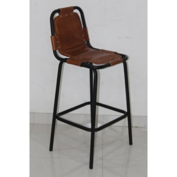 Industrial & vintage iron metal & genuine leather retro vintage tall bar chair