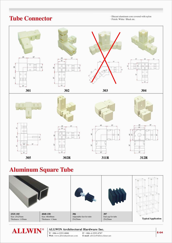 Aluminum Square Tube Nylon Adjustable Tube Feet