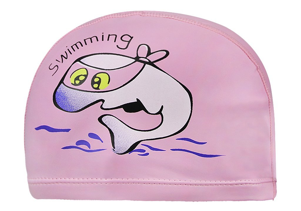Waterproof Cute Cartoon Animal Swim Caps for Youth Kids Non-slip Elastic PU Coating Protective Earmuffs Wrap Cover Non-toxic Allergy-free Eco-friendly Swimming Hats for Girls Boys 3-12Yrs