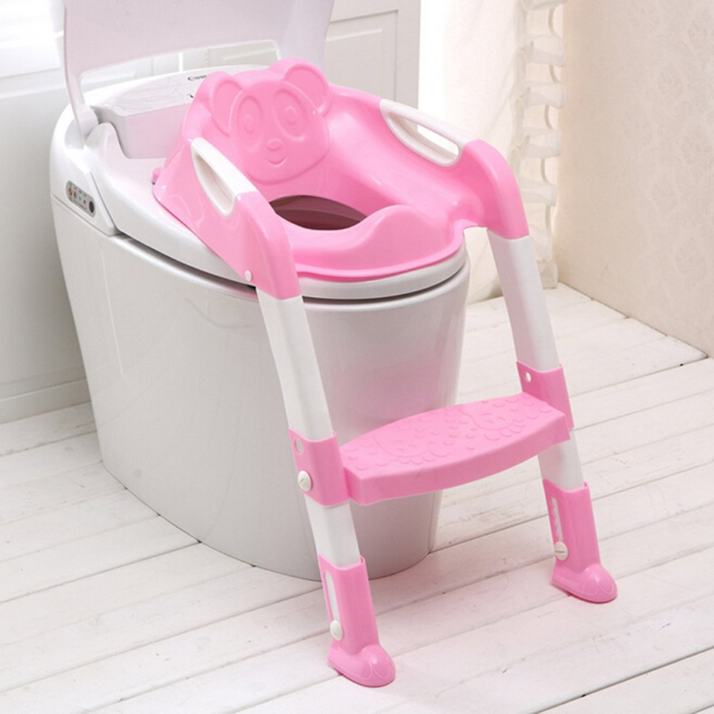 Genmine Potty Toilet Seat With Ladder for Kids Baby, Children's Toilet Seat Chair Step Trainer Ladder Toddlers Toilet Training Step Stool Cover With Handles Toilet Folding Chair for Boys Girls (Pink)