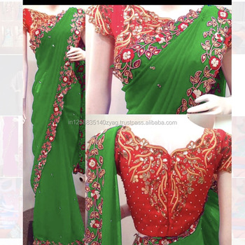 Heavy Designer Partywear Wedding Fully Border Lace Work Saree With
