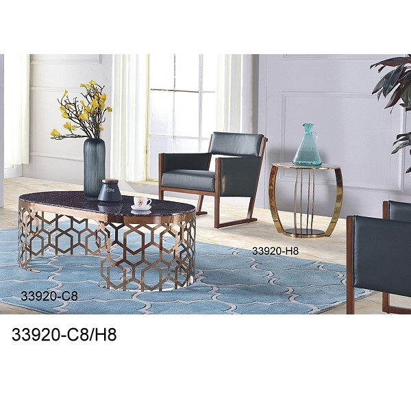 hot sale Stainless Steel Golden Coffee Table 1+2 set 33920-C2