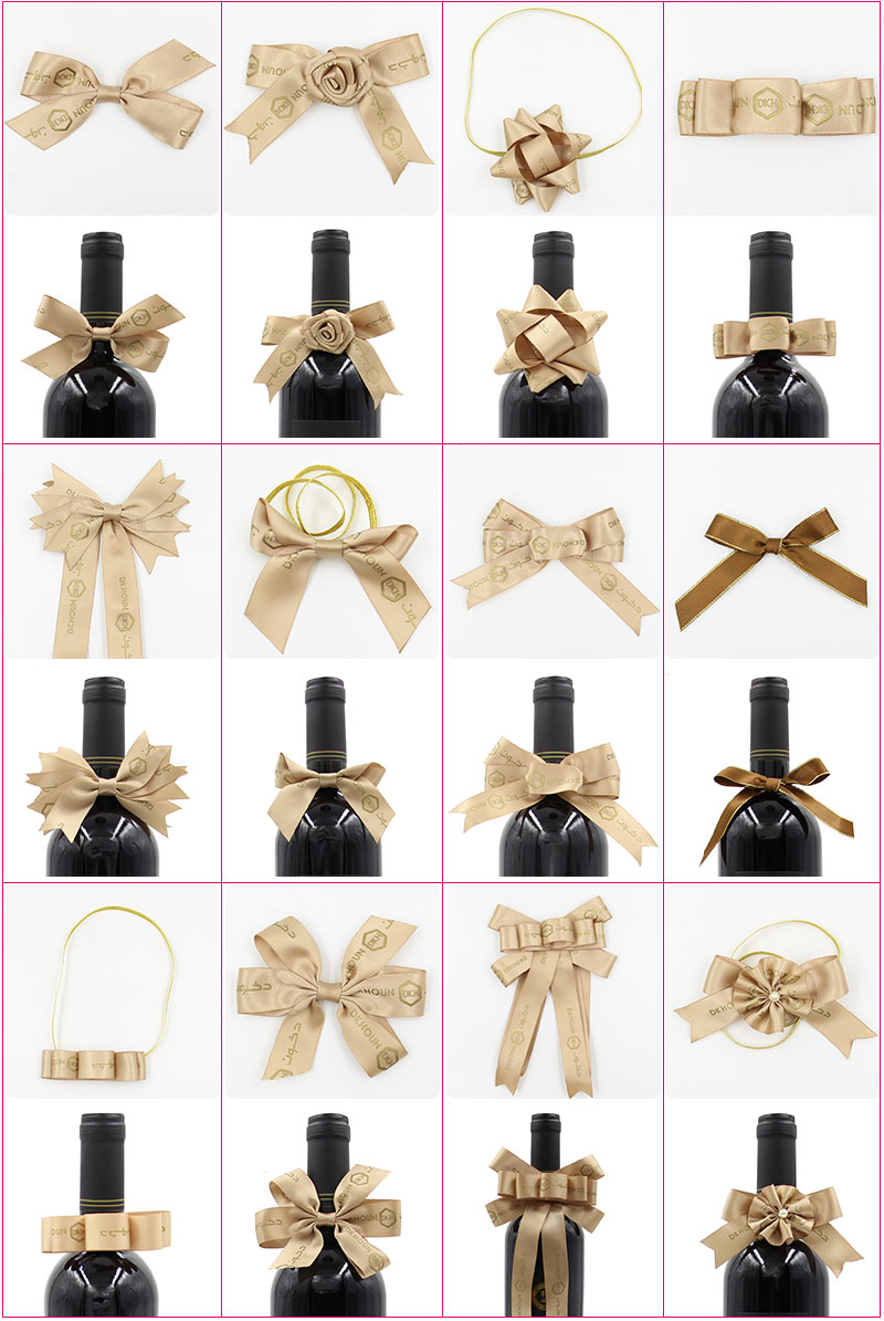 Gift Wrapping Polyester Custom Elastic Pre-tied Satin Ribbon Bows With Elastic Band
