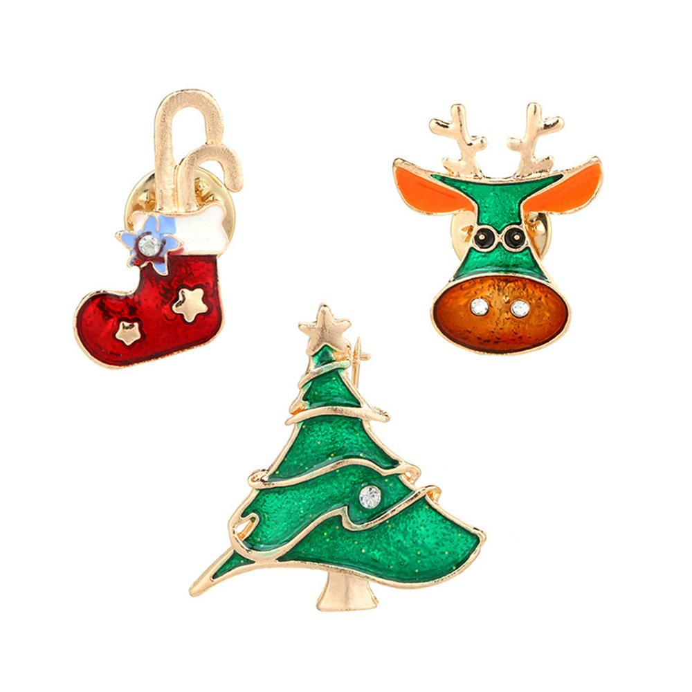 JoJo & Lin Christmas Tree Reindeer Christmas Boot Brooch Pin Christmas Jewelry Gifts Xmas 3 pcs/set