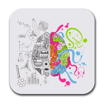 Science Creative Left Right Brain Coaster Set - Beer Drink Beverage Table Coaster Set - Six (6) Quality Soft Absorbent Neoprene Coasters for Home Office or Bar