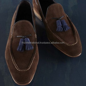Handmade Men brown suede leather shoes moccasins slip ons casual formal shoes
