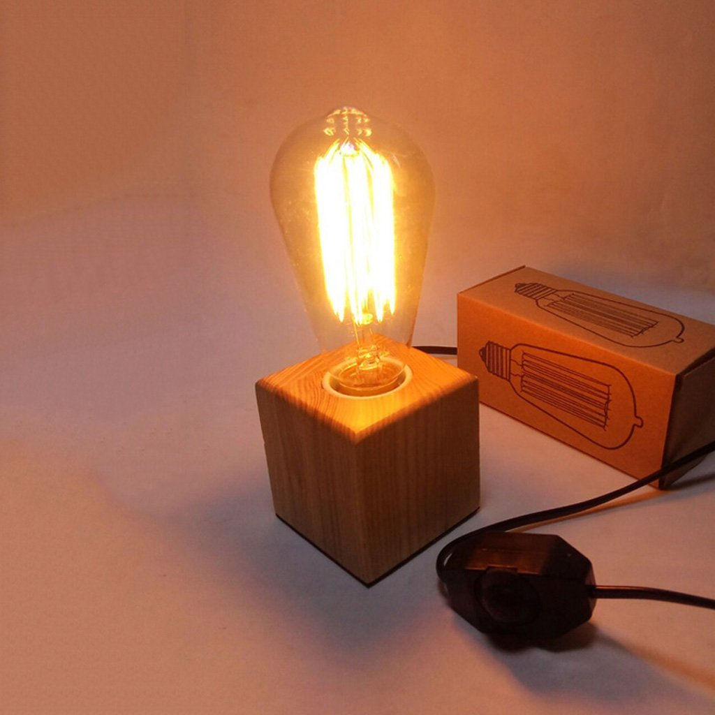 Baoduohui Retro tungsten table lamp, retro industrial wind restaurant bar desk lamp, cube small table lamp, solid wood lamp base, bedroom table lamp