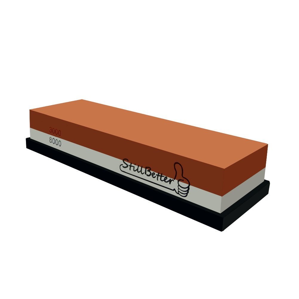 Whetstone Knife Sharpening Stone, StillBetter 3000/8000 Grit Combination Waterstone Rubber Stone with Base for Kitchen knives, Tactical knives, Scissors, Razors, Swords, Cleavers, machete and More