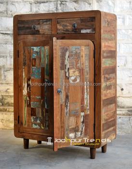 Reclaimed Wood Furniture Made In India Teak Frame 2 Drawers Doors Side Board