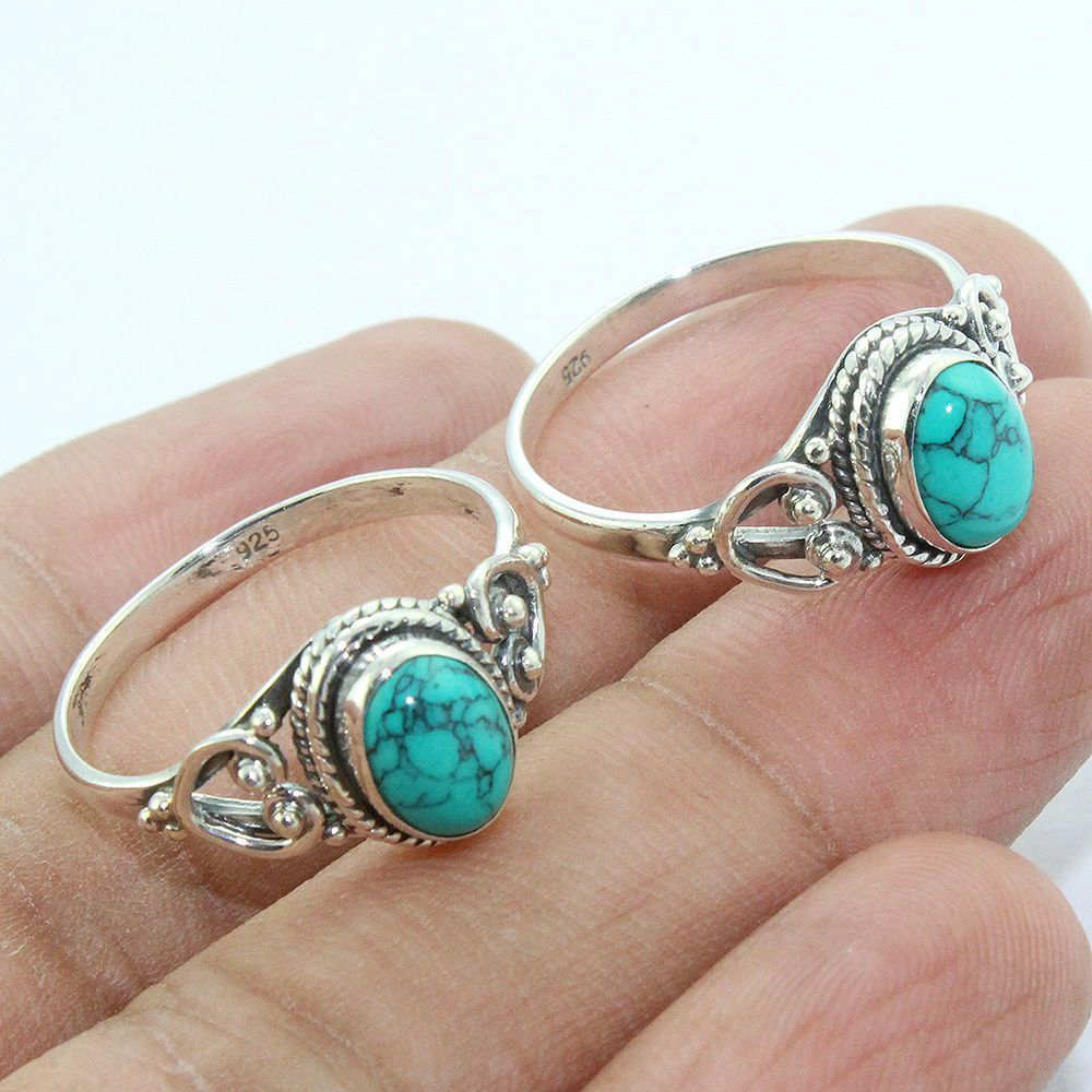 Wholesale Turquoise ring jewelry custom natural stone silver jewelry 925 sterling silver bezel ring