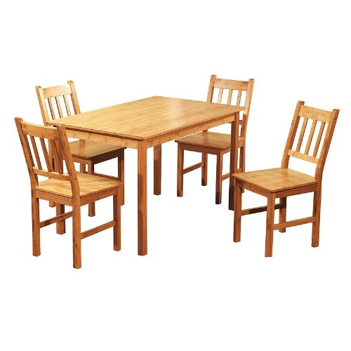 Amazing Target Marketing Systems 5 Piece Bamboo Indoor Dining Set With 1 Bamboo  Table And 4 Bamboo