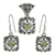 Glittering citrine gemstone reticulated jewelry set 925 sterling silver indian jewellery supplier wholesale