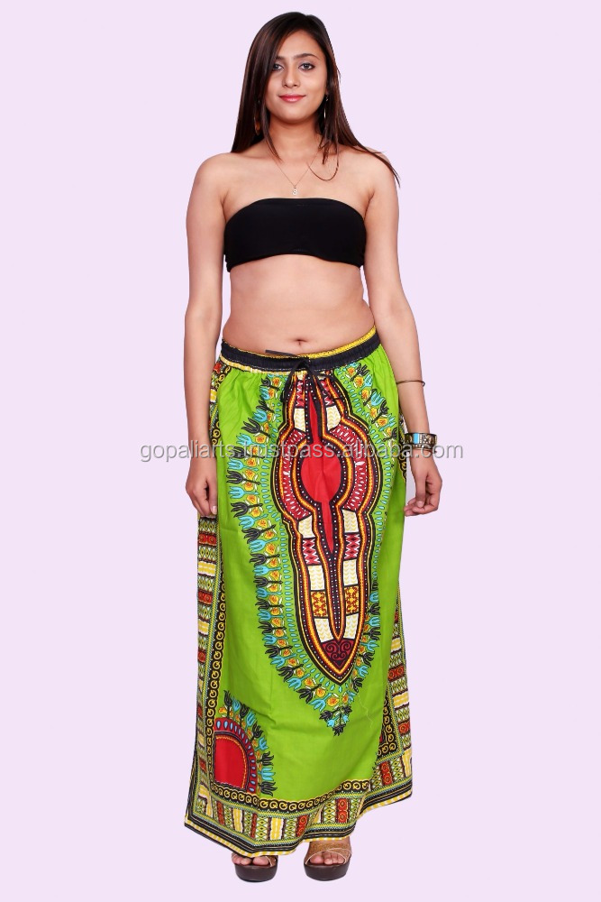Indian New Green Ankara African Maxi Women Skirt Dashiki Print With Two Pocket Indian Free Size