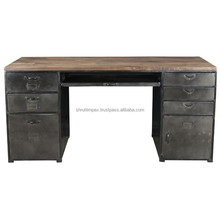 Indian Industrial Iron Wooden Study Work Desk Metal Office Table with Storage Drawer