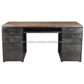 Indian Industrial Iron Wooden Study Work Desk Metal Office Table