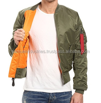 Olive Green Er Jacket With Inside Orange Lining Men Aviator Flight Jackets Ma 1
