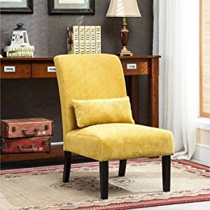 Fabric Armless Contemporary Accent Chair with Kidney Pillow, Multiple Colors Available, Upholstered Accent Chair, Made from Wood, Chenille Accent Chair + Expert Guide (Red)