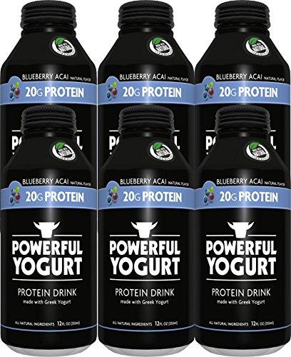 Powerful | High-Protein Greek Yogurt Drink | All-Natural | Gluten-Free | 20g Protein | Blueberry Acai (6 Count)