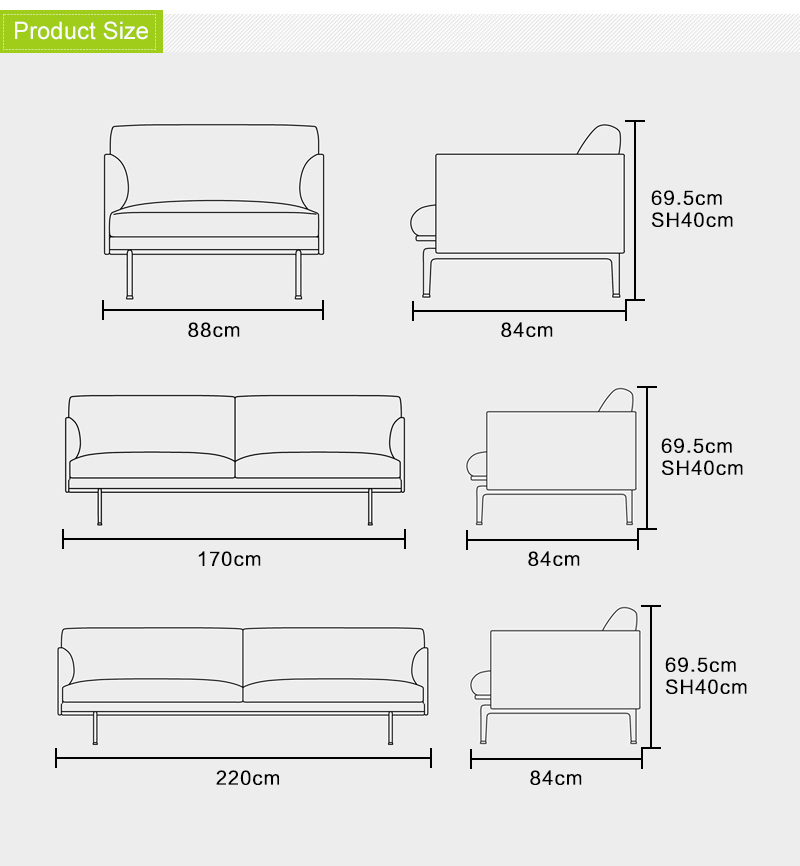 Scandinavian Design Modern Hotel Room Furniture Fabric Outline three seat Sofa For Weddings And Events