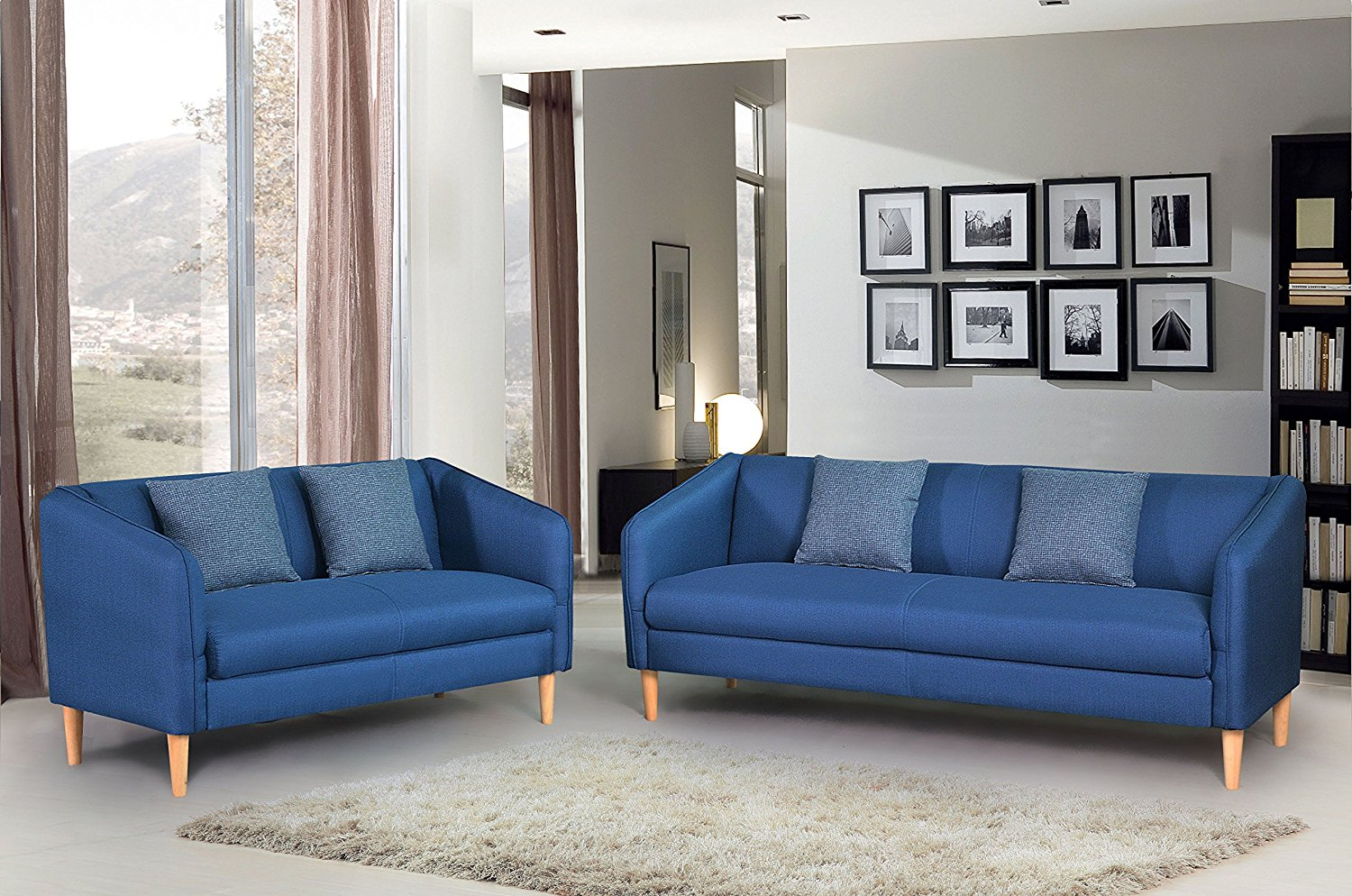 Container Furniture Direct Helton Collection 2 Piece Collection Modern Reversible Fabric Living Room Sofa Set, Blue