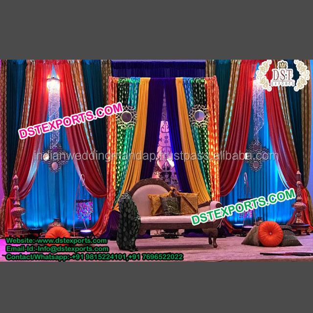 Bollywood. wall covering backdrop Wedding drapes Honey Gold taffeta Moroccan