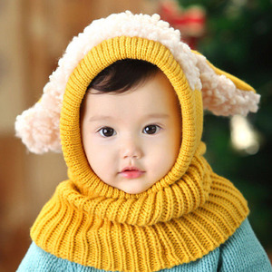 cd3dce0dc3e Baby Knitted Caps for Infant Boys Girls Hooded Earflap Neck Warmer Winter  Baby Hat And Scarf