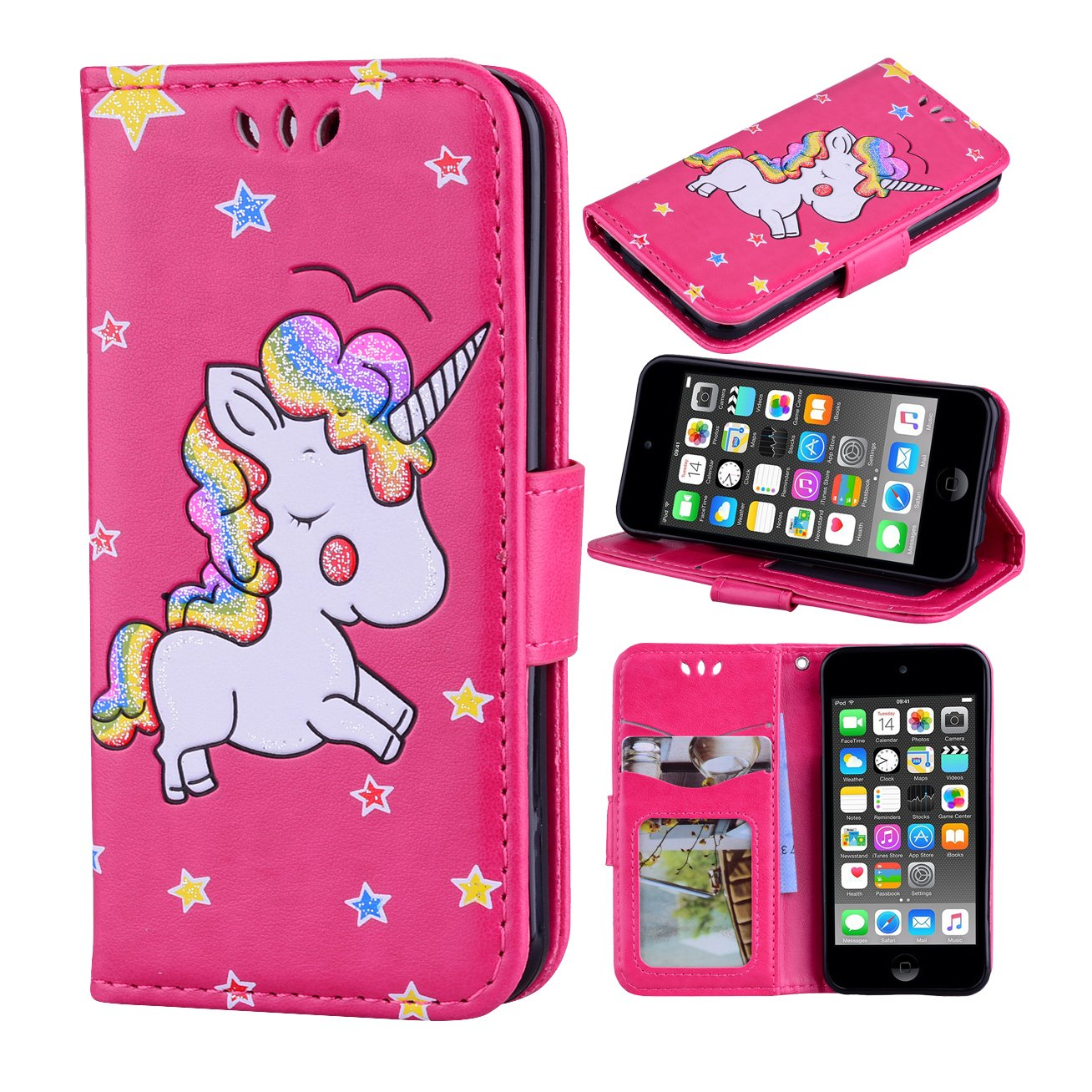 7b31a8f41e3 Get Quotations · iPod Touch 6 Case, iPod Touch 5 Case, Ranyi [3D Glitter  Unicorn Embossed