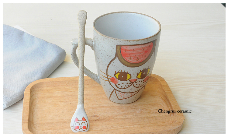 ceramic sublimation cartoon cat shaped wholesale wonderful gift with spoon matte mugs
