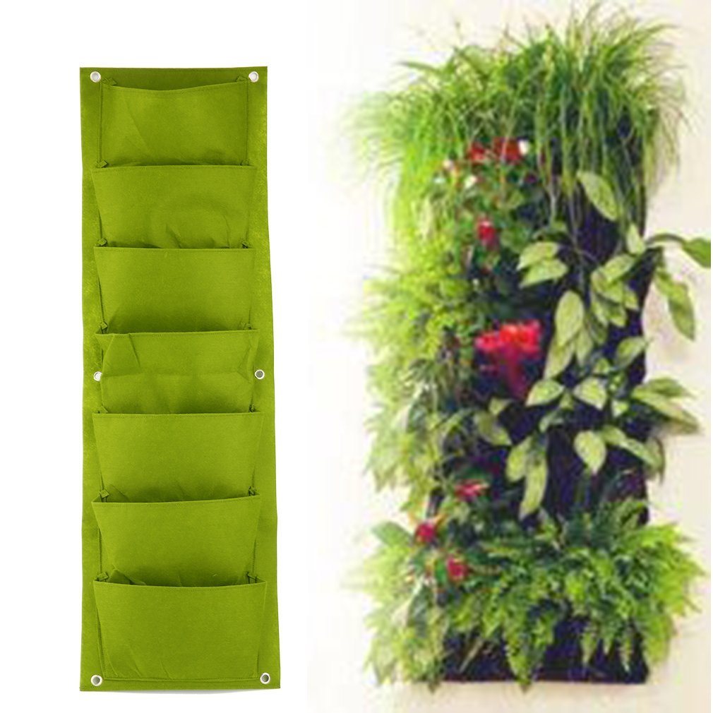 Lznlink Vertical Hanging Planters Garden Plant Grow Bag Indoor/Outdoor Wall-mounted Planting Flower Pot Bag Pouch with 7 Pocket for Herbs Vegetables and Flowers