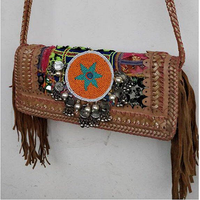 Banjara Vintage Gypsy Lather Fringe And Beaded Coin Tote Ibiza Indian Handmade Clutch Bag
