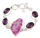 pink widow druzy amethyst quartz silver plated fashion bracelet jewelry