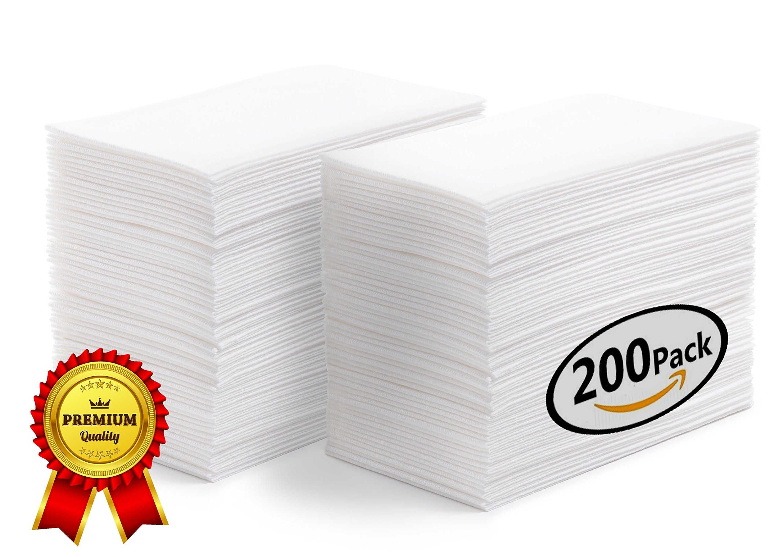 SOFTER Hand Towels | Guest Napkins | Disposable Dinner Napkins | Linen Feel Wedding Guest Towels White - Absorbent - Durable - Paper Hand Towels For Events Bathroom Kitchen Office 200 BULK VALUE PK
