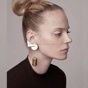 Personalized Vintage Gold Filled Geometric Everyday Long Stud Earrings